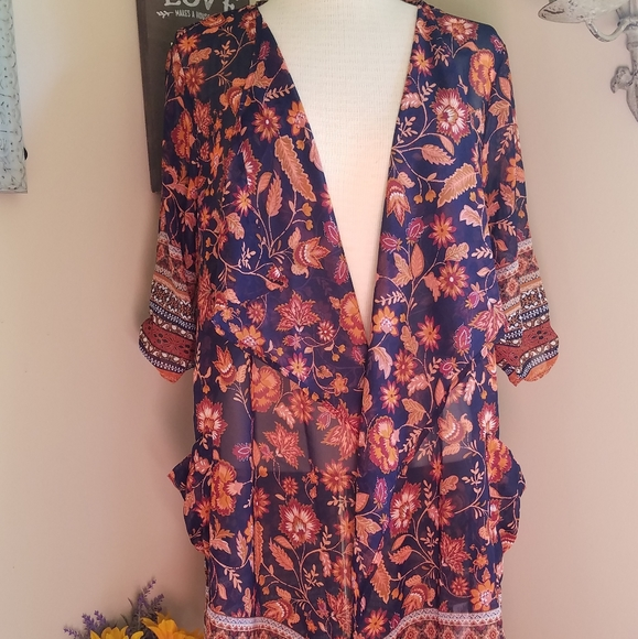 Band of Gypsies Sweaters - Band Of Gypsies sheer cardigan dark blue orange